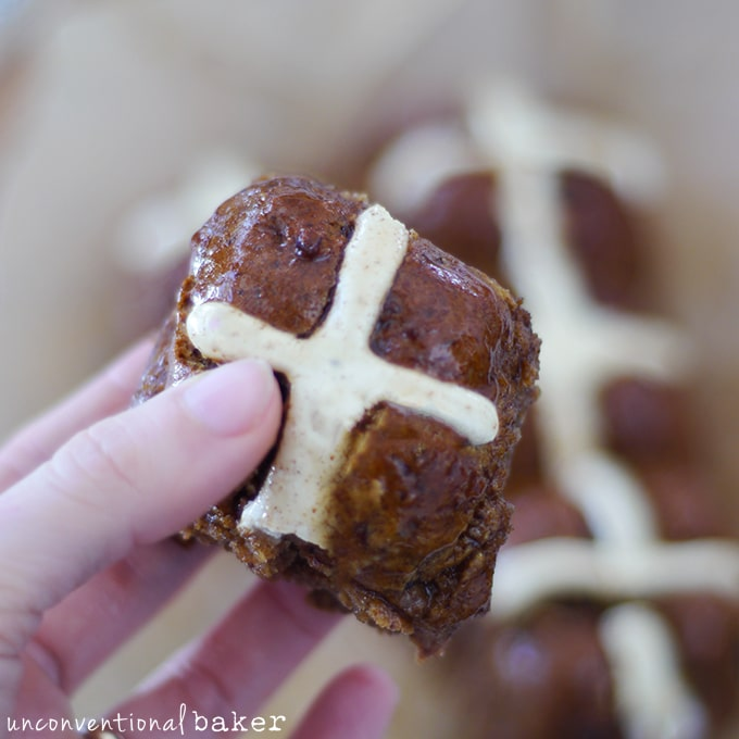 Plantain Hot Cross Buns {Gluten-Free, Vegan, Refined Sugar-Free, Yeast-Free, Gum-Free}