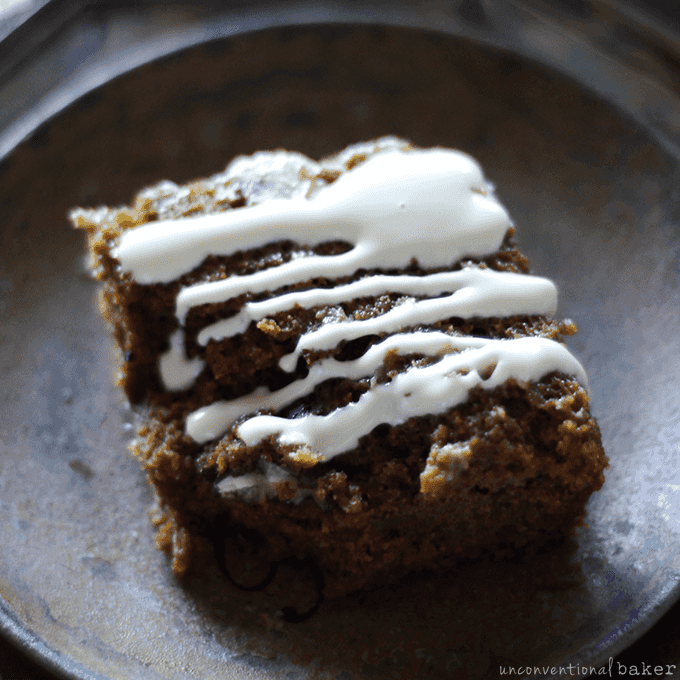 """Nutty Pumpkin Cake with a """"Cream Cheese"""" Topping {Free from gluten, dairy, eggs, and refined sugars}"""