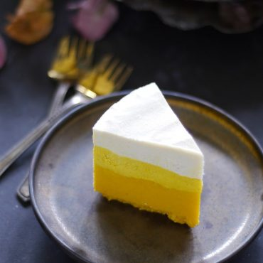 Raw Candy Corn Cheesecake {Free from: gluten & grains, dairy, eggs, artificial colors, and refined sugar}