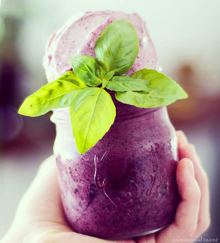 Blueberry Basil Nice Cream (Dairy-Free, Fruit-Sweetened, Raw)