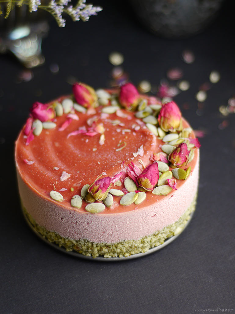 Strawberry Lime Parsnip Cheesecake (Free From: nuts, dairy, gluten & grains, refined sugar)