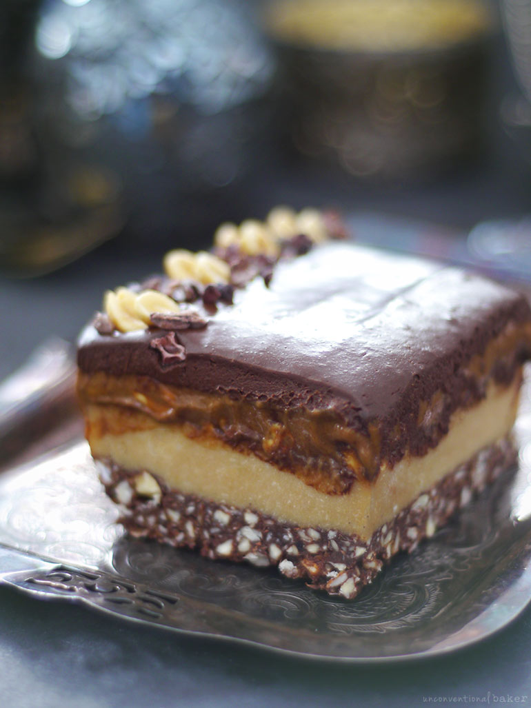 Layered Caramel Nougat Chocolate Slice (Raw and Free From: Gluten and Grains, Dairy, and Refined Sugar)
