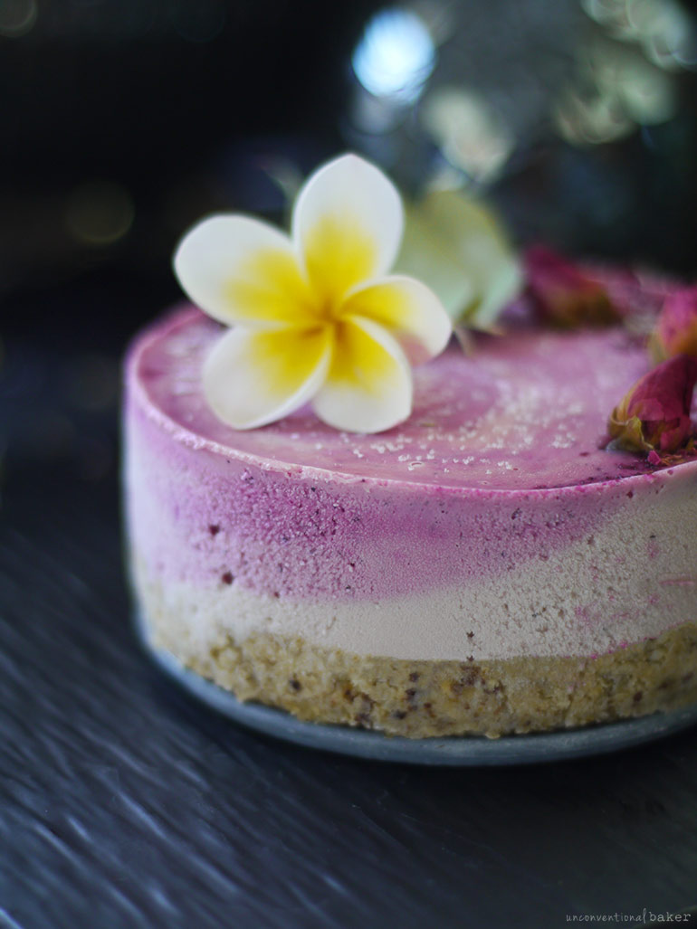 Pink Pitaya and Rose Raw Cheesecake (oil-free, dairy-free, grain-free, refined sugar-free)