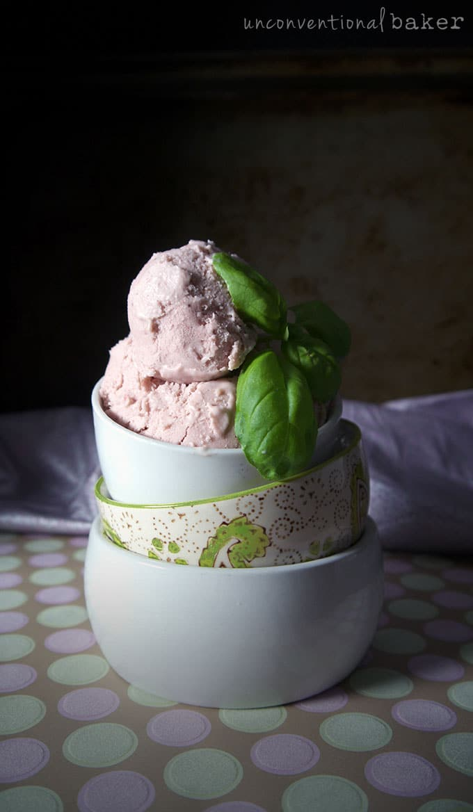 Balsamic Strawberry & Basil Dairy-Free Ice Cream Recipe {Vegan, Gluten-Free, Paleo, AIP, Refined Sugar-Free}