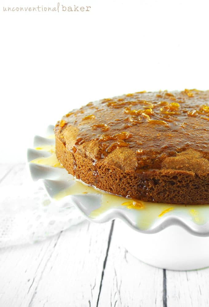 Orange Butter Cake with Warm Orange Sauce {Gluten-Free, Vegan, Refined Sugar-Free}