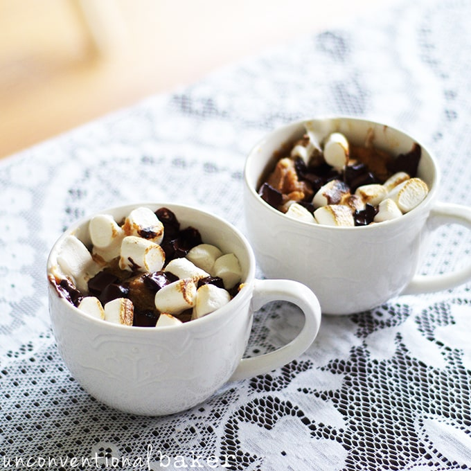 Gluten-Free Vegan 2 Minute Mug Blondie -- with Peanut Butter, Marshmallows, and Chocolate Chunks