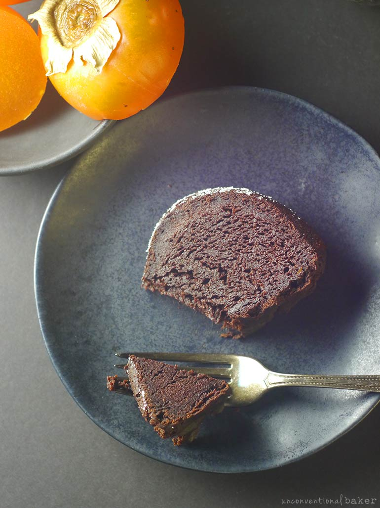 chocolate bundt cake slice with persimmons