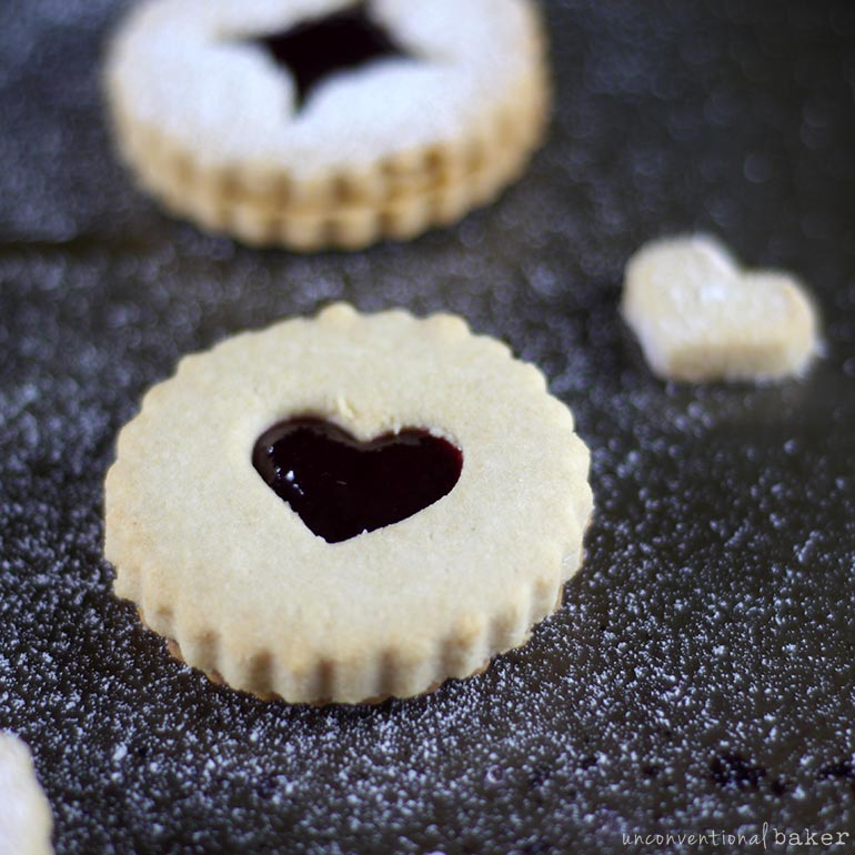 vegan raspberry linzer cookies