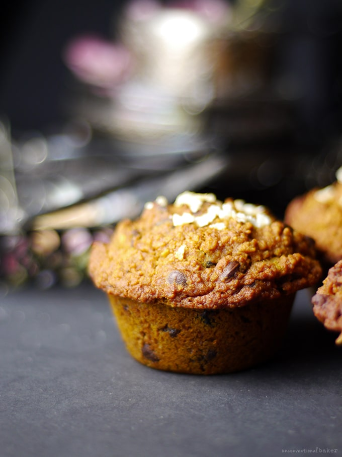 Cranberry Chocolate Chip Pumpkin Spice Muffins (Free from: gluten, dairy, eggs, oil, gums, nuts, refined sugars, and oats)