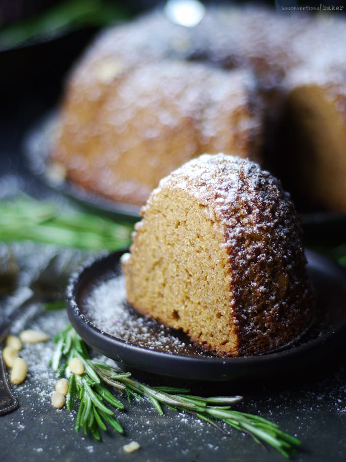 Almond, Rosemary, & Pine Cake {Free from: gluten & grains, dairy, eggs, refined sugar, oil, and gums}