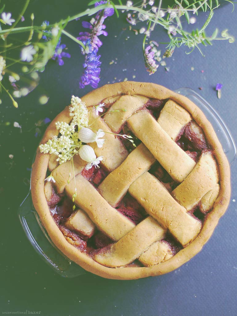 Strawberry Rhubarb and Lime Pie (Free from: gluten, dairy, added oils, & refined sugar)