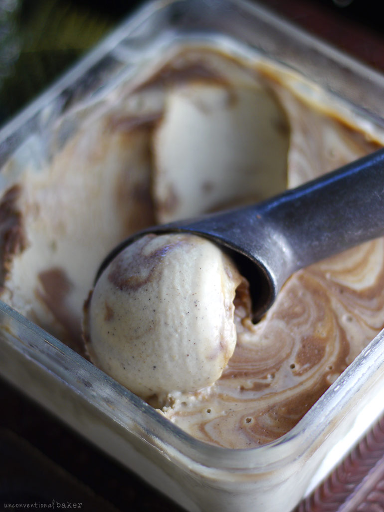 Vanilla & Salted Caramel Swirl Ice Cream (No Churn, Dairy-Free, Refined Sugar-Free)