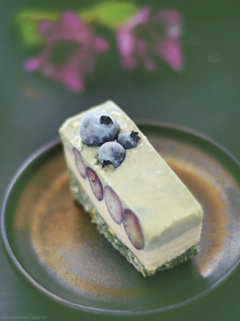 Raw Blueberry Spirulina Cheesecake Slice (Free From: gluten & grains, dairy, refined sugar)