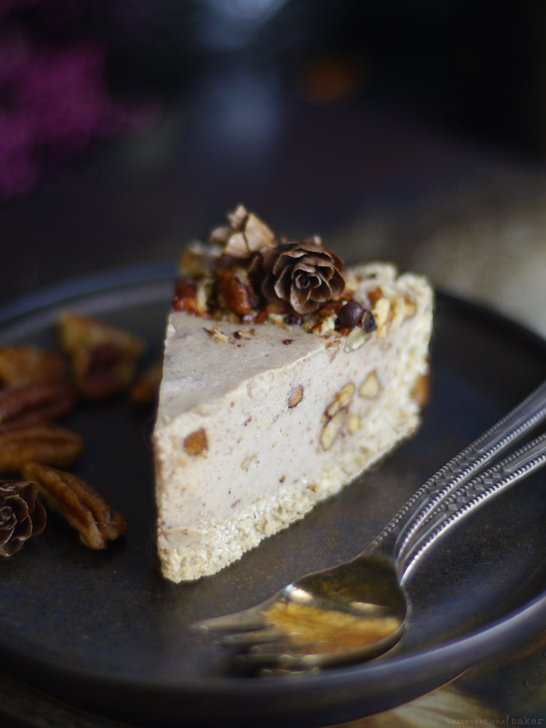Candied Pecan Cheesecake (No-Bake & Free From: dairy, gluten & grains, soy, and refined sugar)