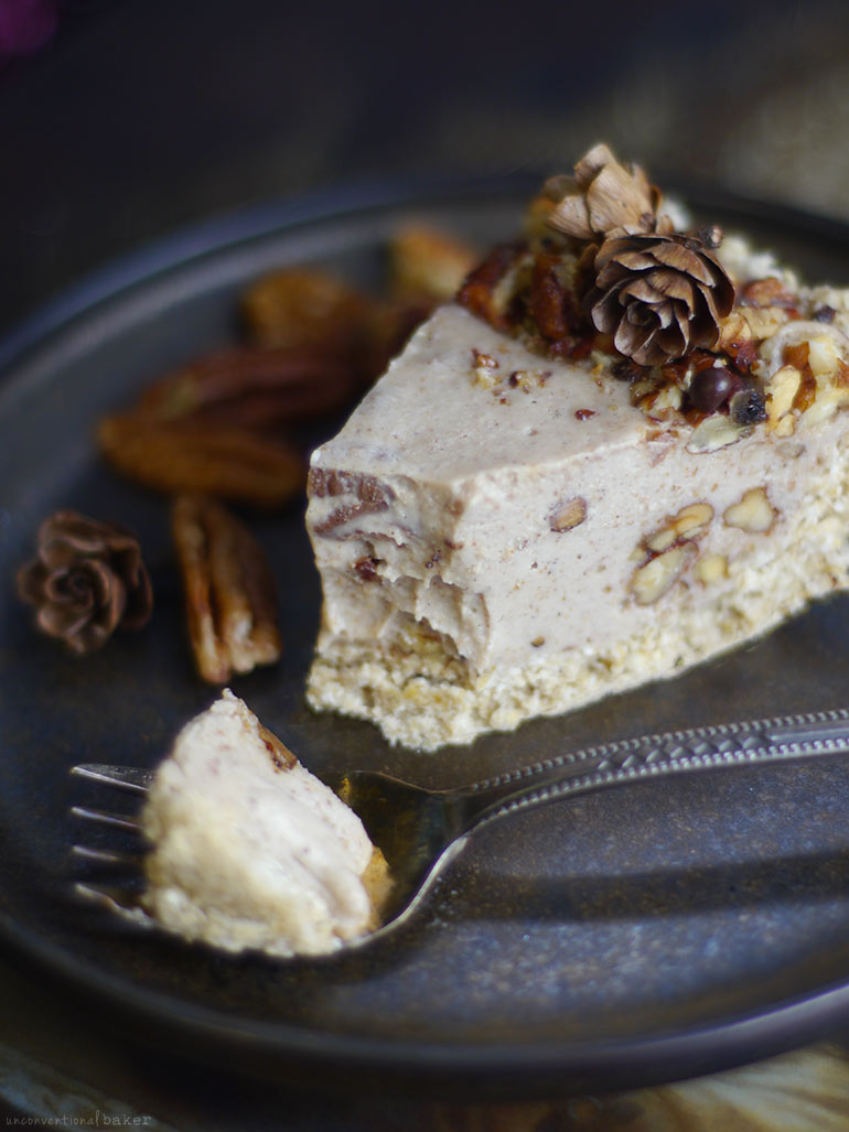 Candied Pecan Cheesecake Cheesecake (No-Bake & Free From: dairy, gluten & grains, soy, and refined sugar)