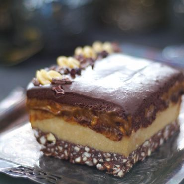 Layered Caramel Chocolate Slice (Raw and Free From: Gluten and Grains, Dairy, and Refined Sugar)