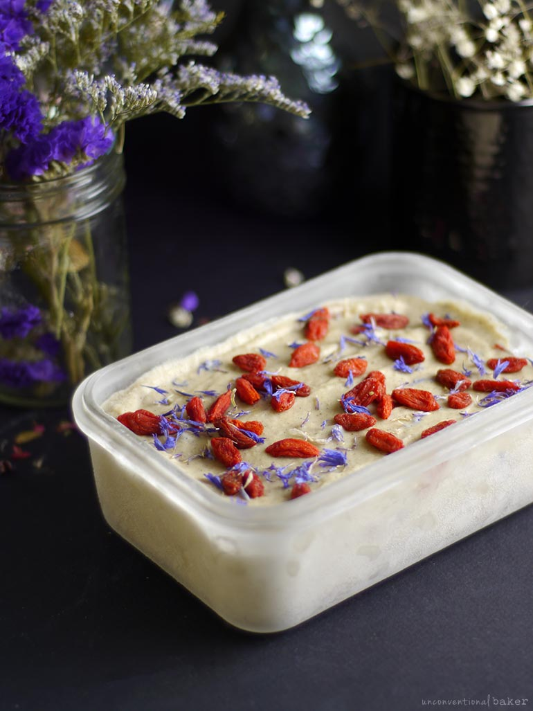 vegan no churn ice cream with vanilla bean and goji berries