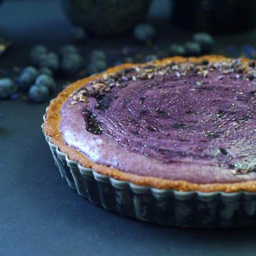 vegan gluten-free blueberry custard pie
