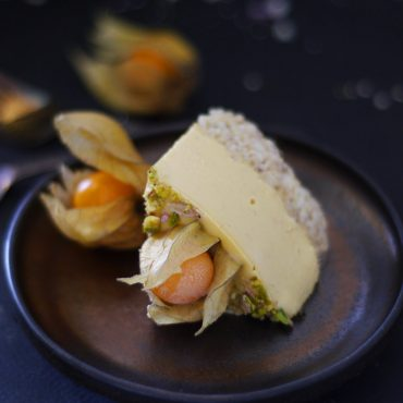 gluten-free raw vegan cheesecake slice made with physalis berries