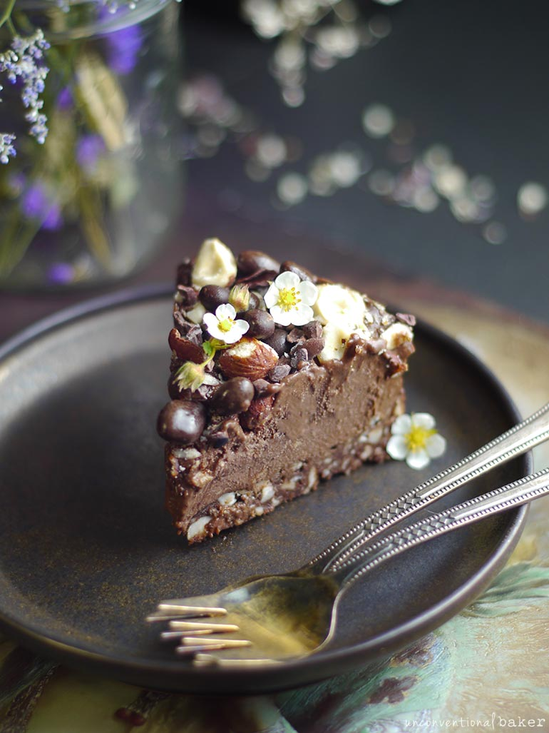 chocolate hazelnut cheesecake slice, raw vegan recipe, grain-free and gluten-free, refined sugar-free