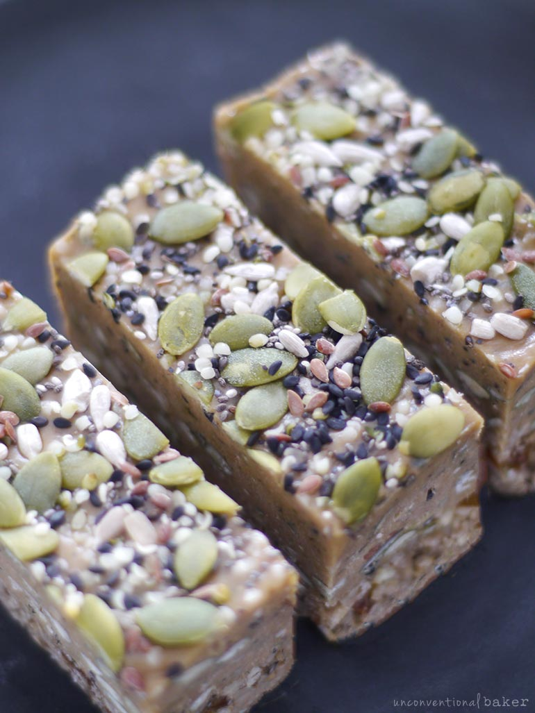 slices of vegan nut-free dessert bars made from seeds