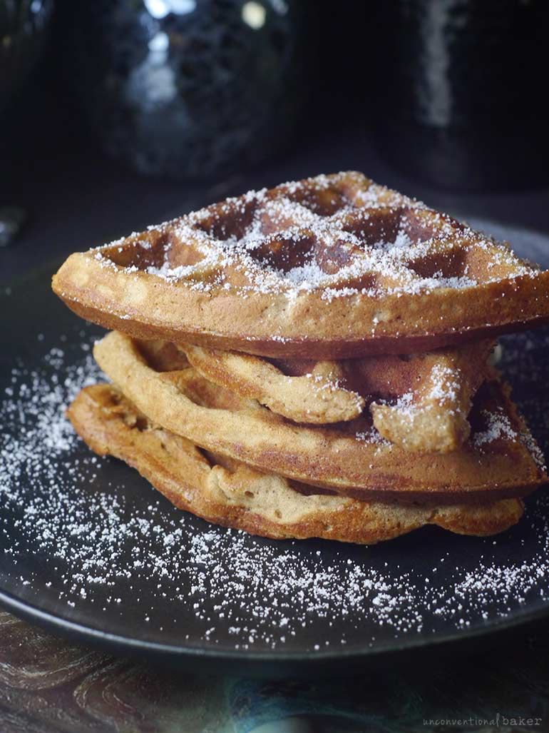 almond butter millet waffles made with a gluten-free vegan and oil-free recipe