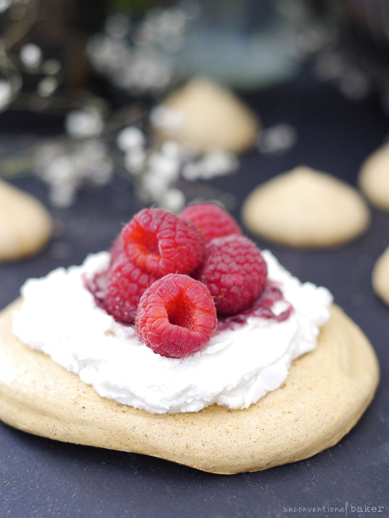 giant aquafaba meringue cookies with coconut whip