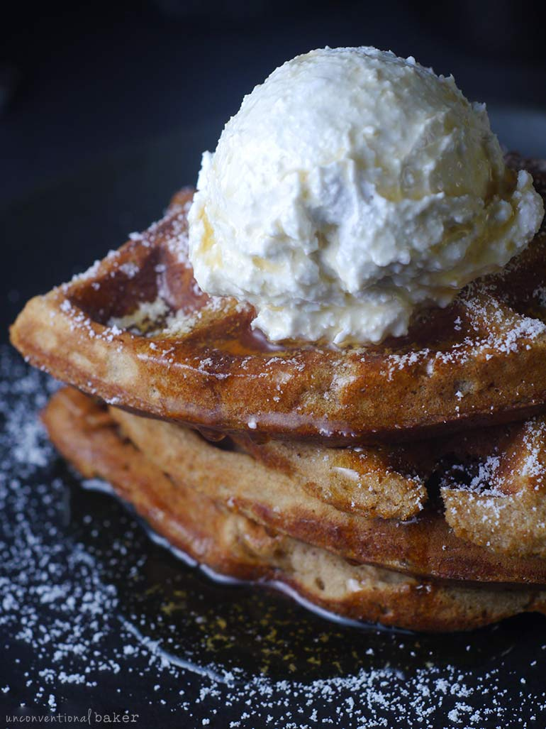oil-free vegan waffles with whipped cream