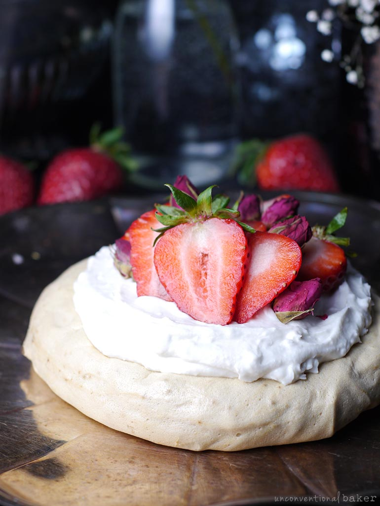 aquafaba meringue cookie dessert with whip and berries