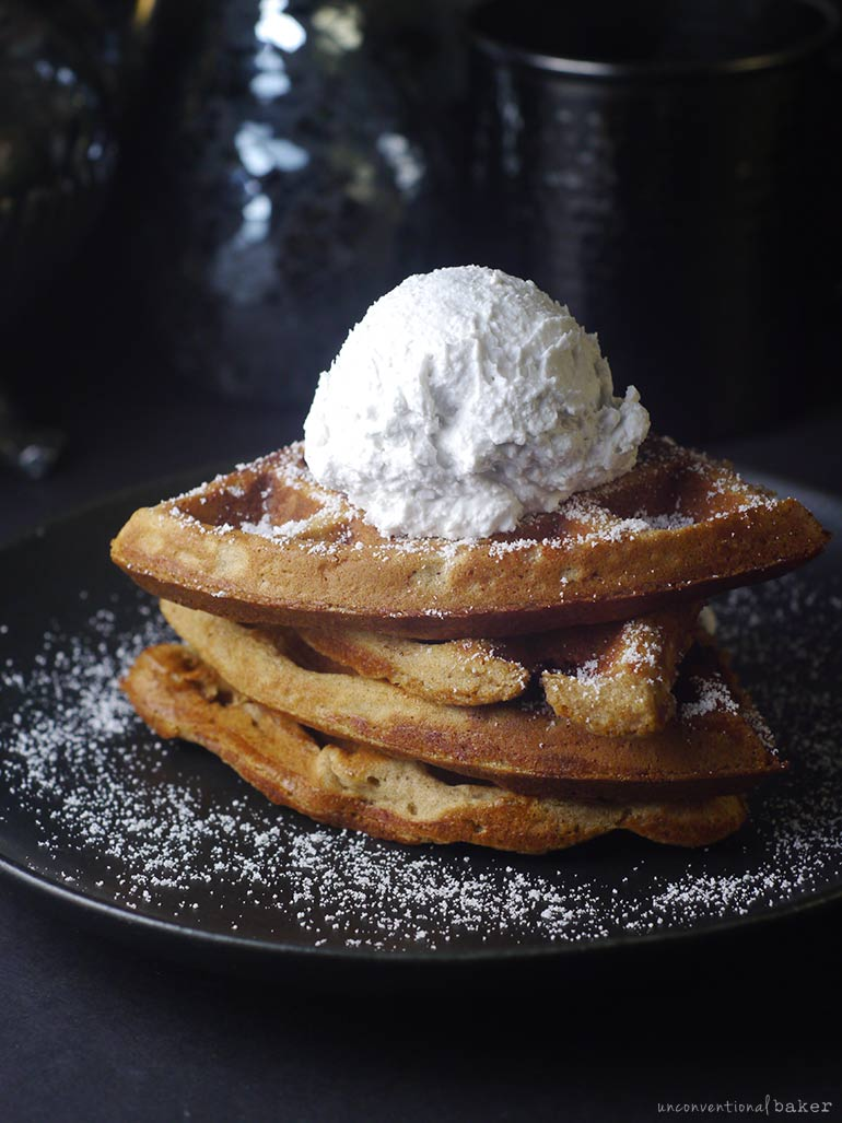 vegan gluten-free and oil-free waffles stack with coconut whipped cream