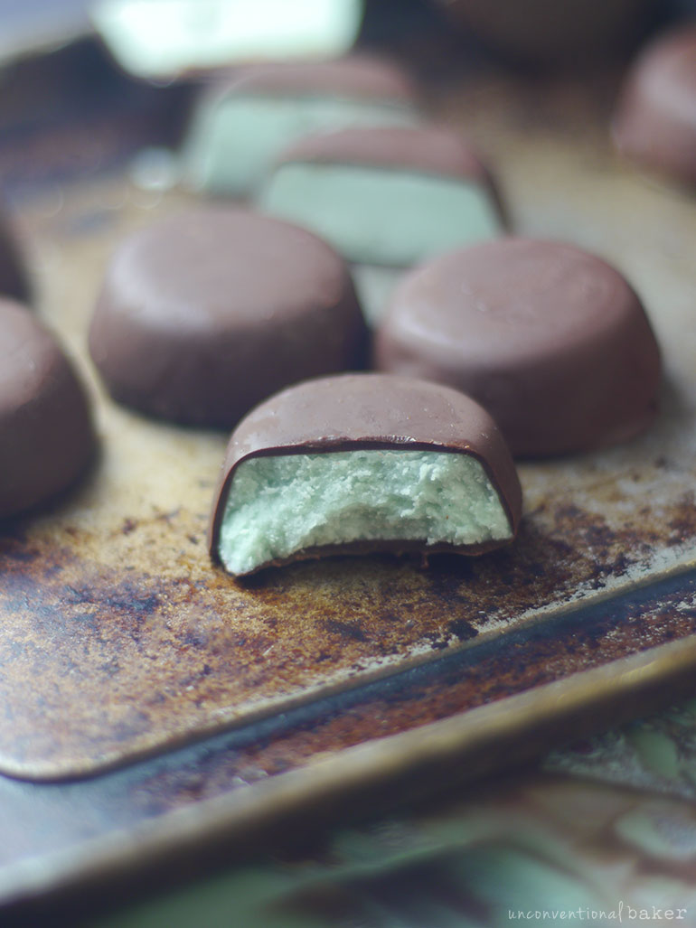 homemade raw vegan mint chocolates
