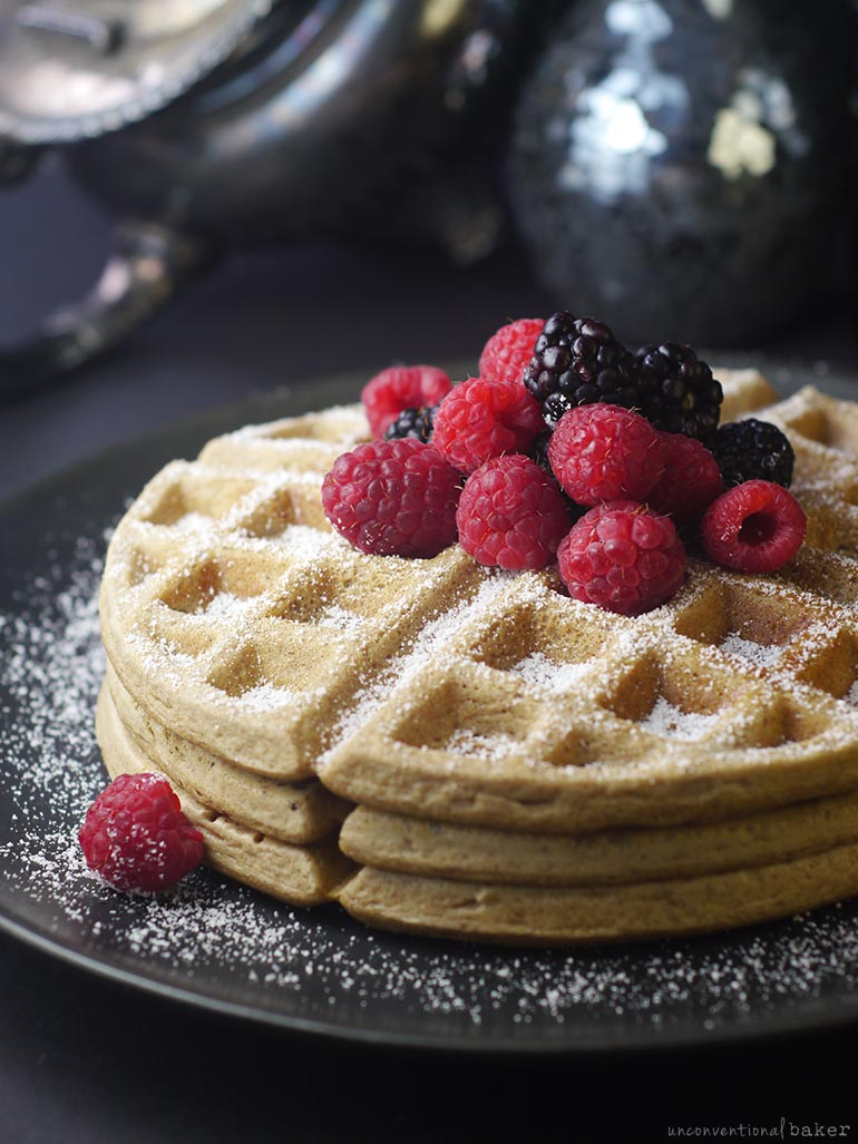 gluten-free vegan waffles with berries