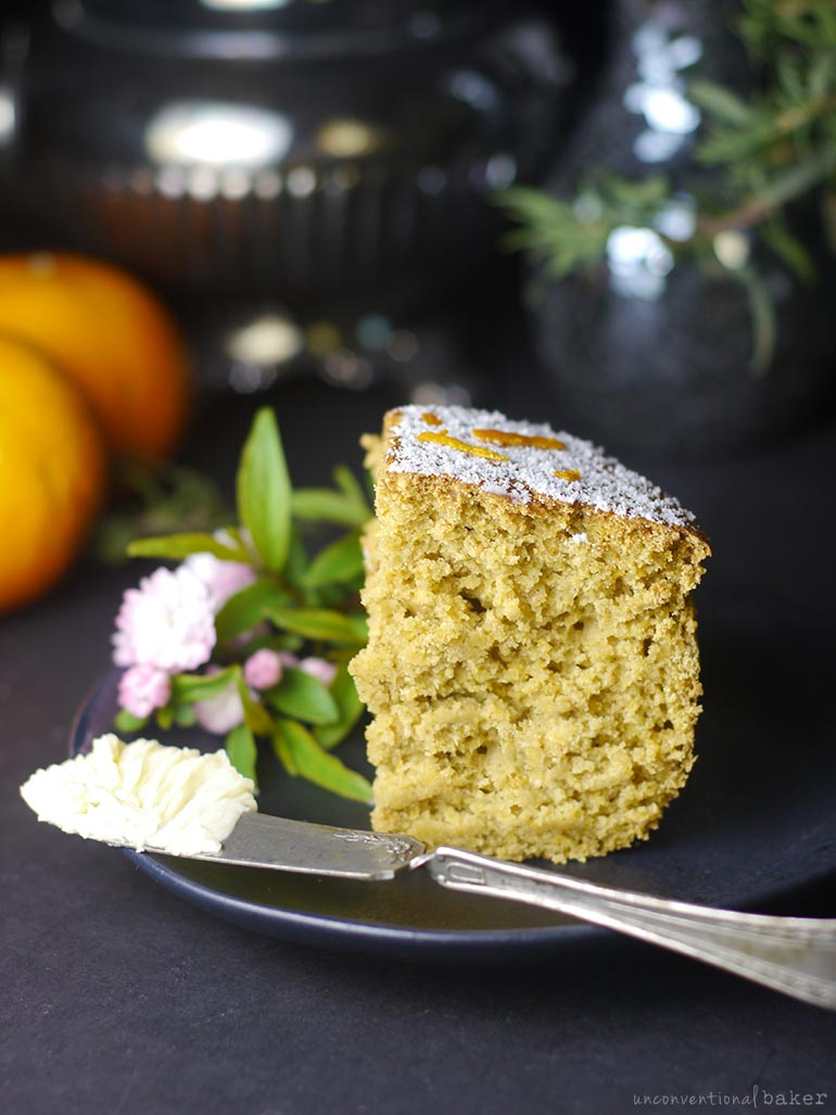 slice of tangerine coffee cake (eggless, dairy-free, refined sugar-free)
