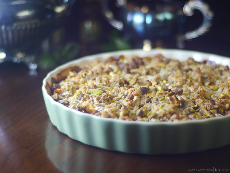 peach crumble with balsamic, maple, almonds, and pistachios (gluten-free, vegan, refined sugar-free)