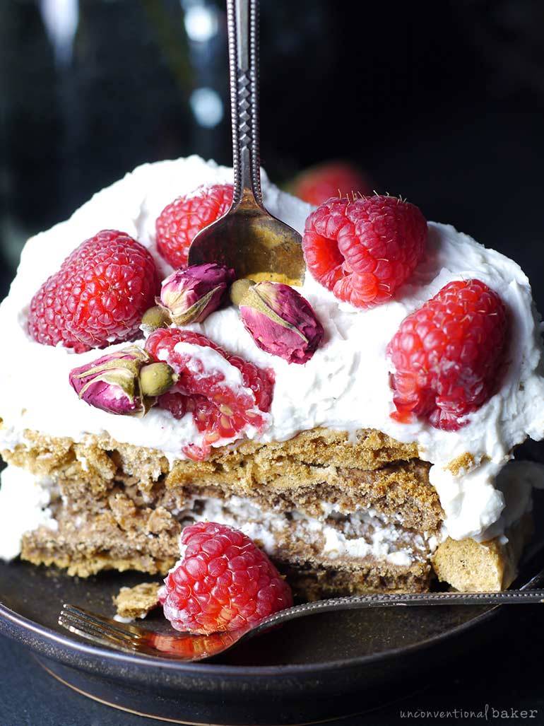 slice of vegan meringue cake with cream