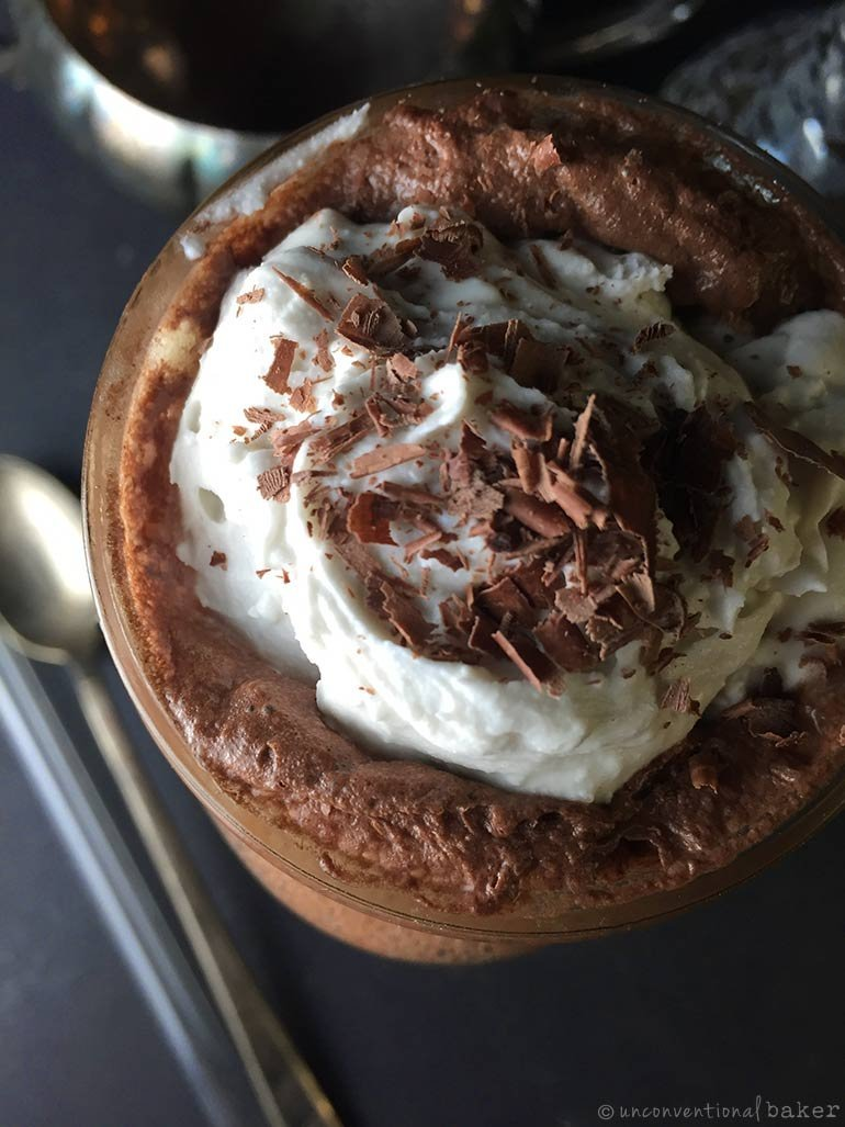 vegan chocolate ice cream float topped with coconut whip cream