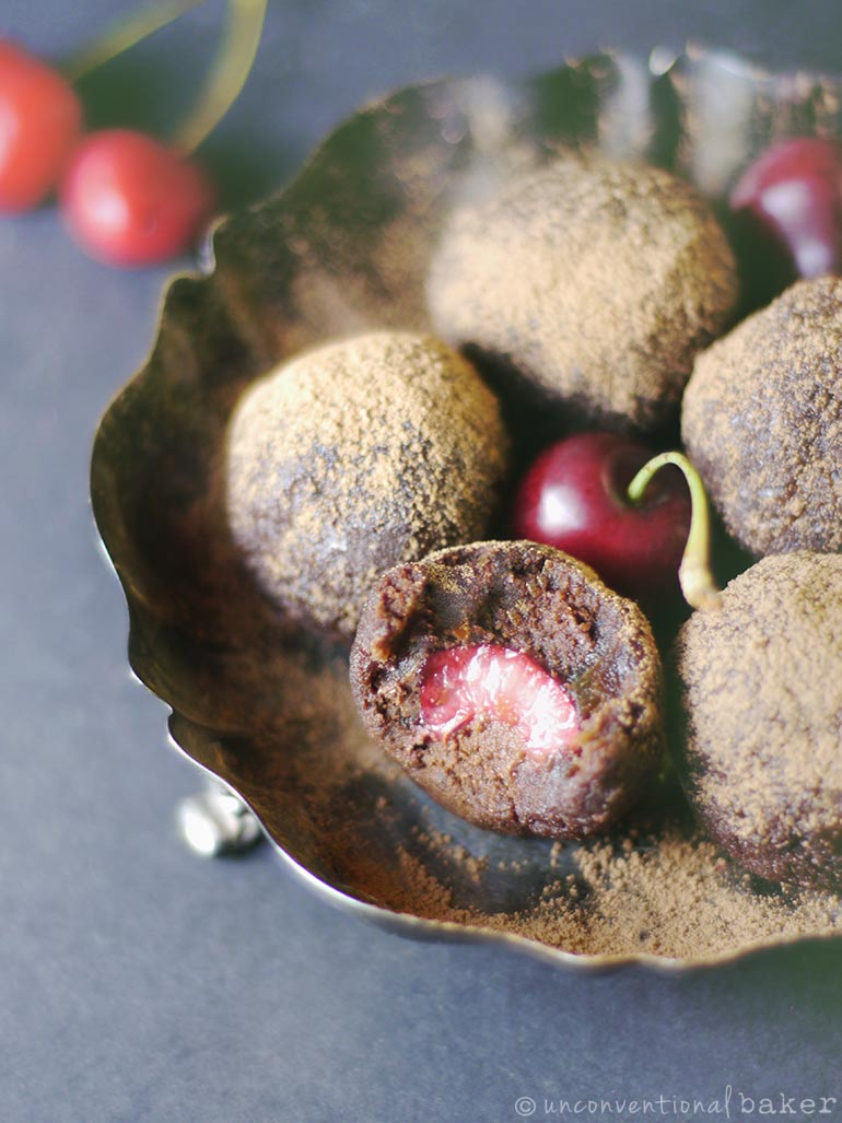 Chocolate Cherry Bliss Balls -- Recipe made with almond pulp