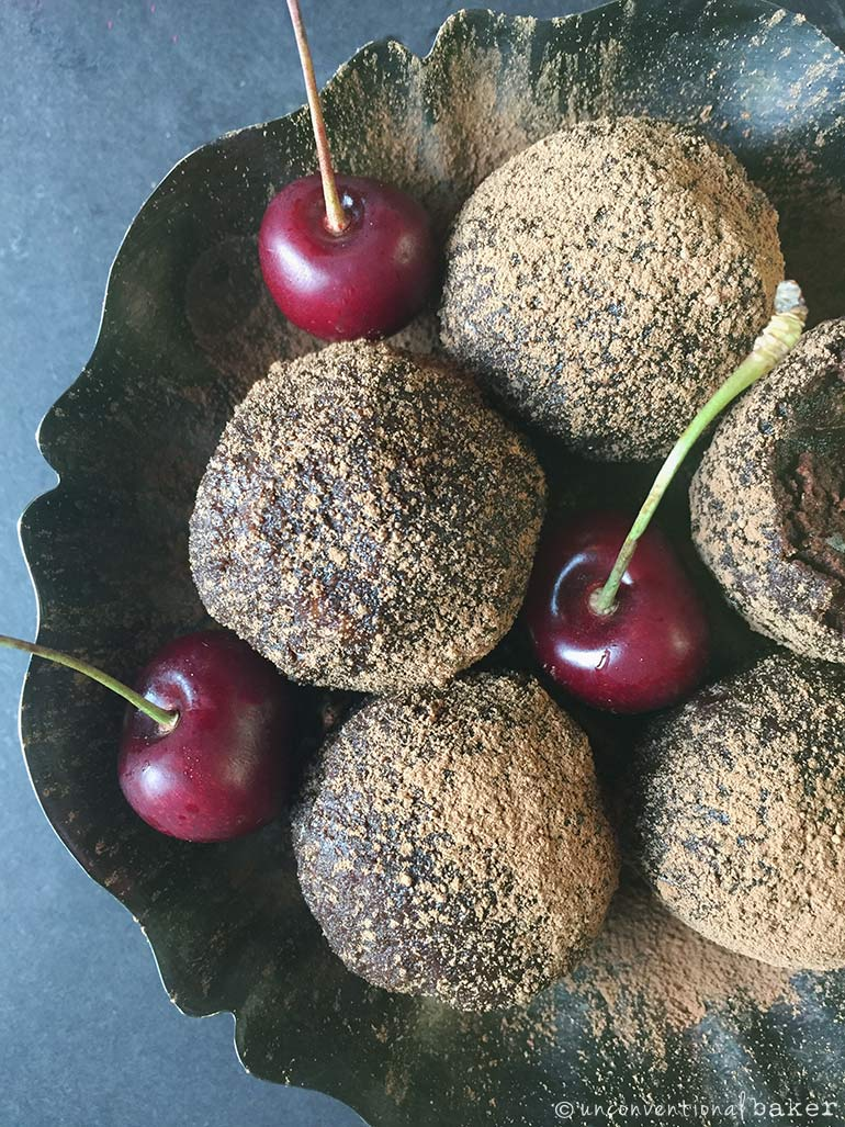 chocolate cherry bliss balls -- vegan, grain-free, gluten-free
