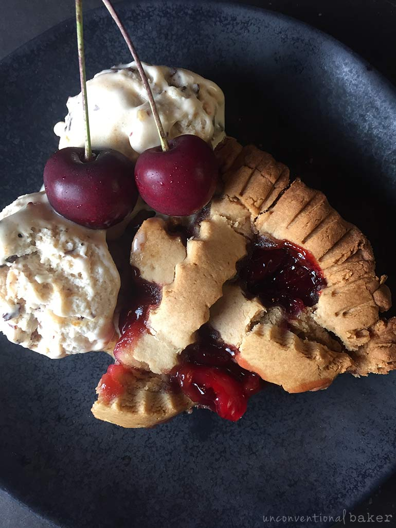 homemade cherry pie with ice cream