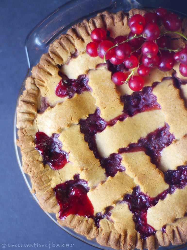 red currant pie with lattice top