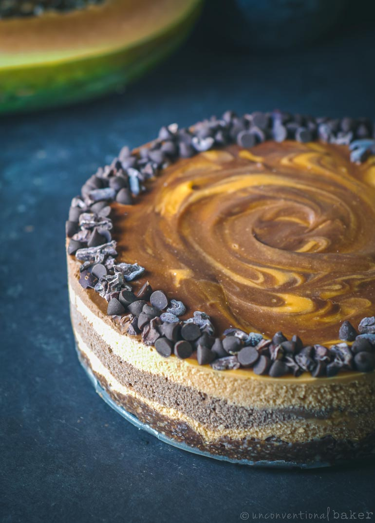 raw vegan papaya and chocolate cheesecake recipe