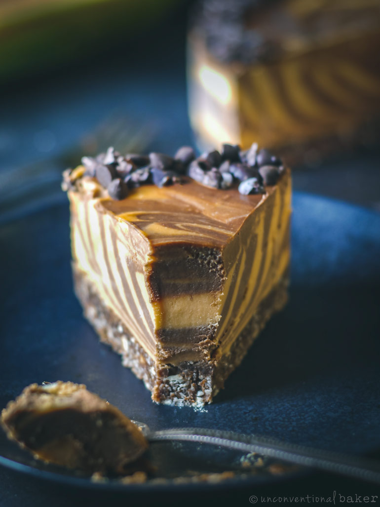 vegan chocolate papaya cheesecake bite