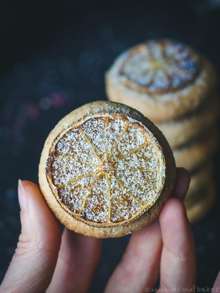 citrus almond cookies vegan oil-free