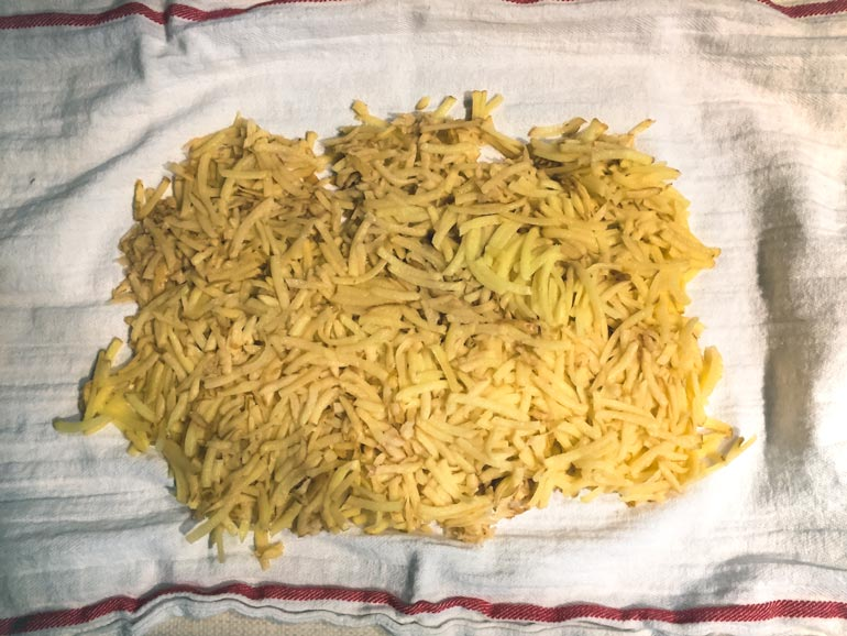 shredded potatoes for making hash browns