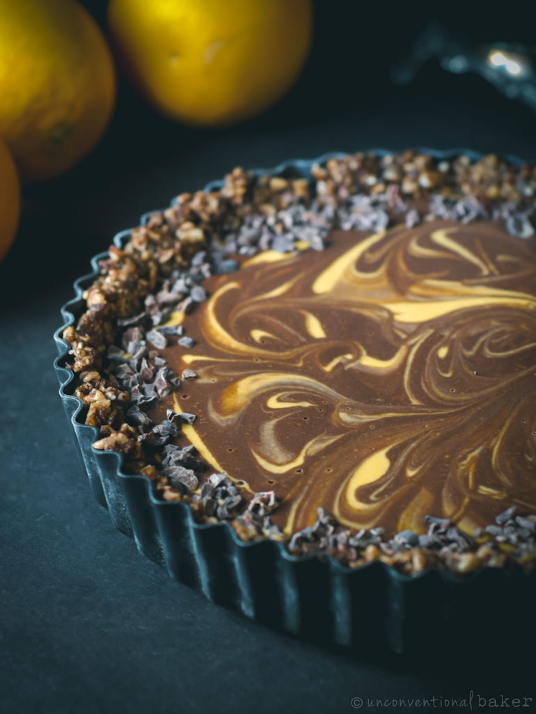 raw vegan chocolate orange tart