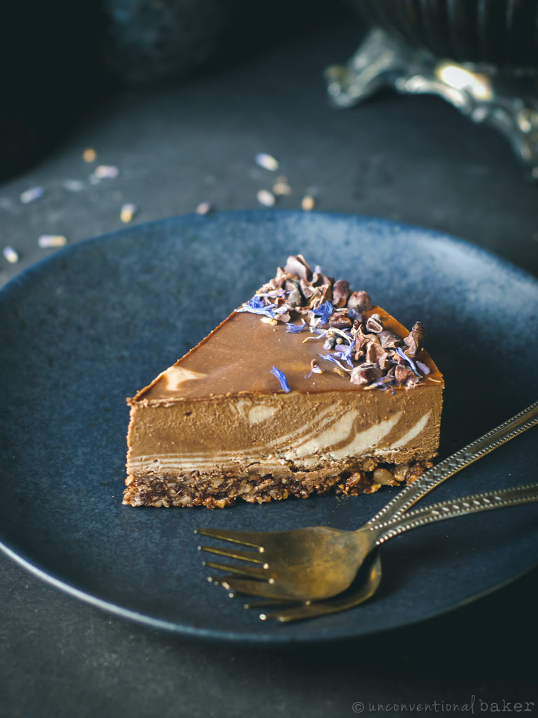 slice of raw chocolate lavender cake (vegan recipe)