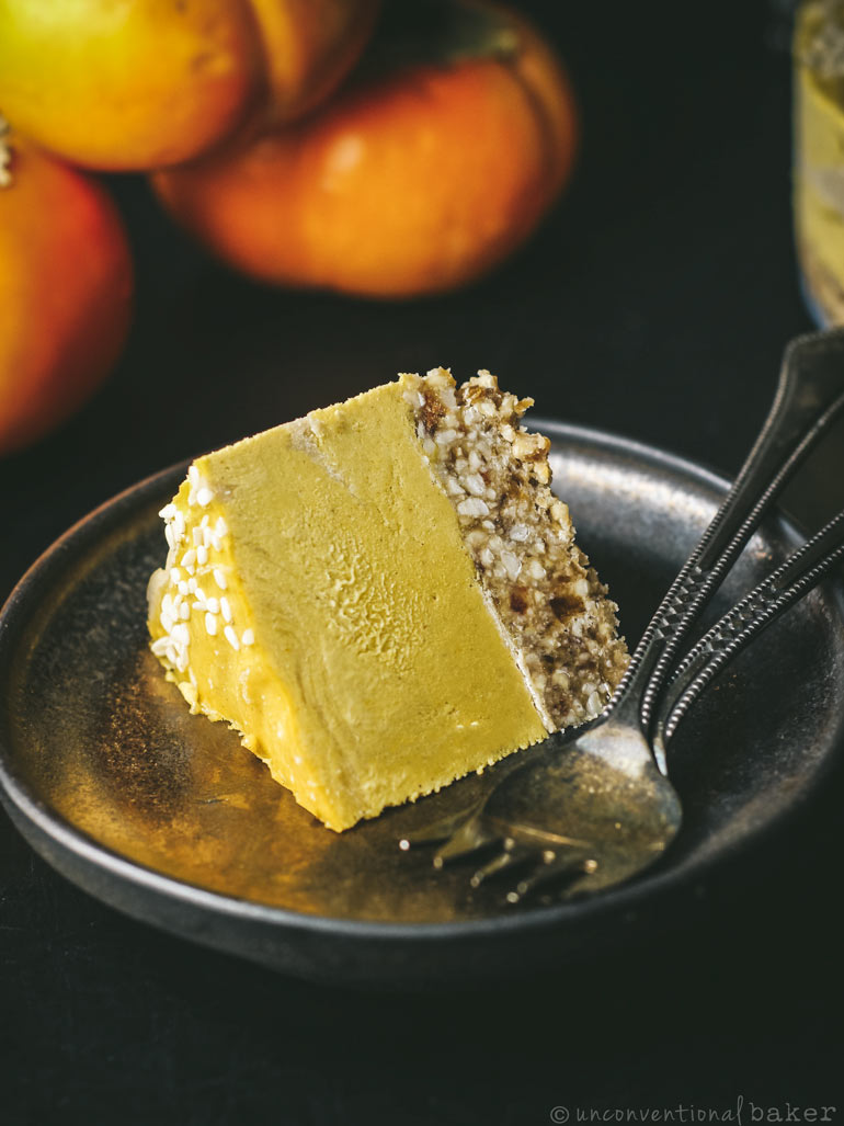 Slice of non-dairy tahini persimmon cheesecake