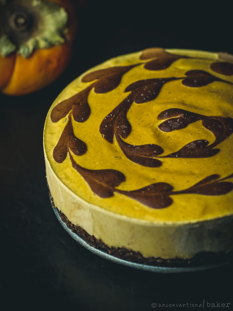 vegan chocolate persimmon cheesecake