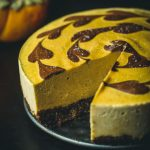 vegan persimmon chocolate cheesecake