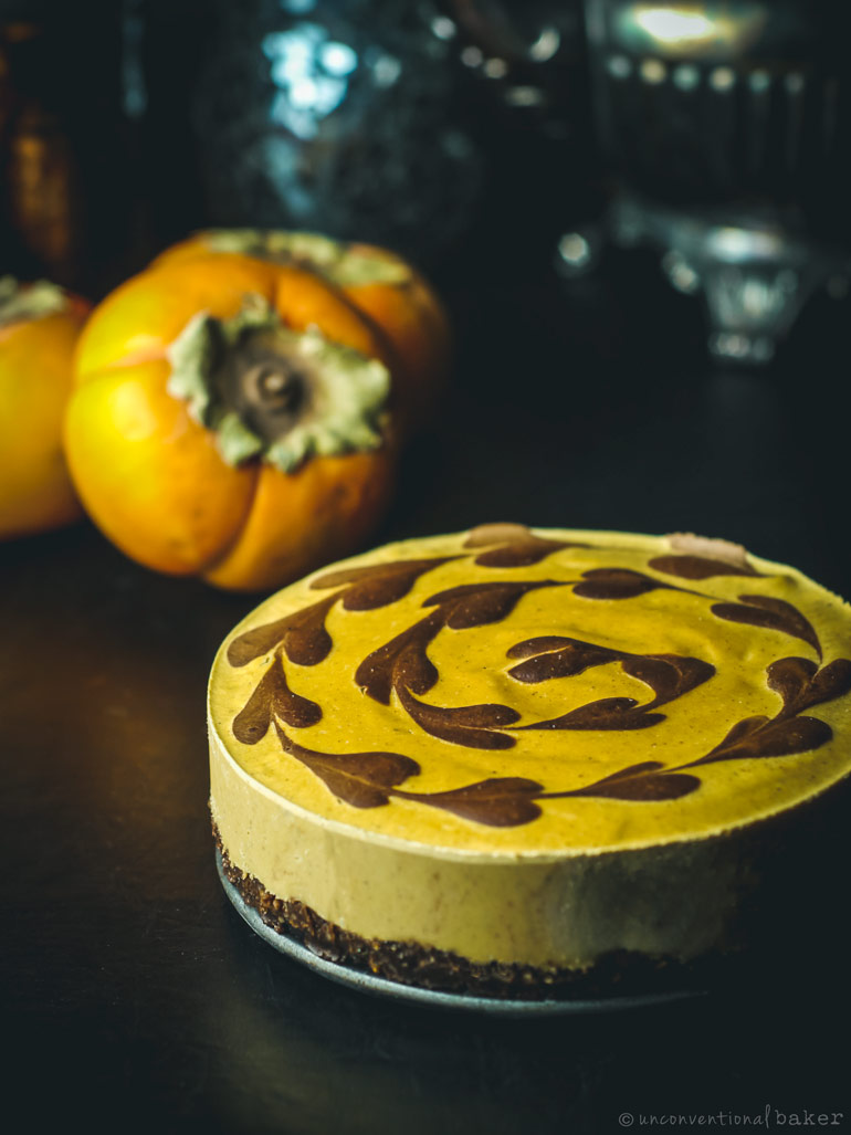 chocolate and persimmon cheescake (gluten-free, vegan, refined sugar-free)